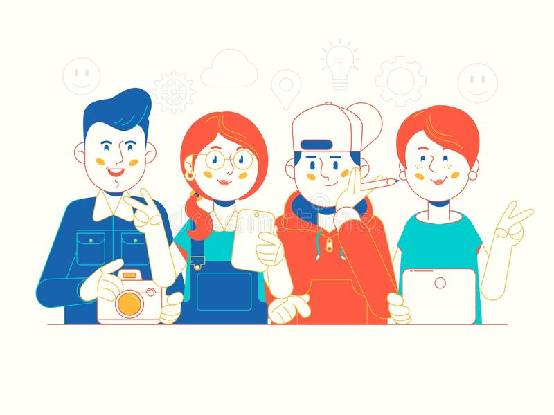 Successful creative business team. Diverse business people standing together at startup royalty free illustration