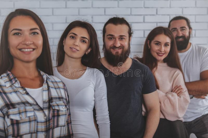 Successful creative business team smiling to the camera royalty free stock photography
