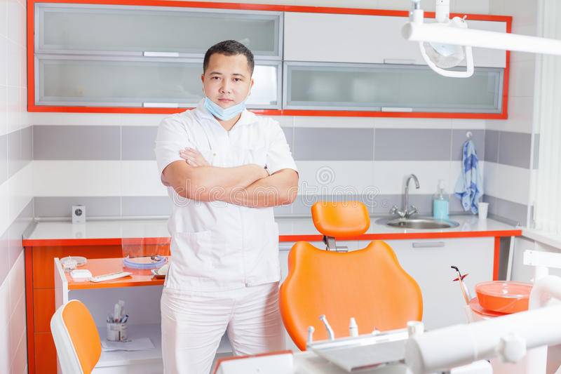 Successful dentist doctor at stomatological clinic. stock image