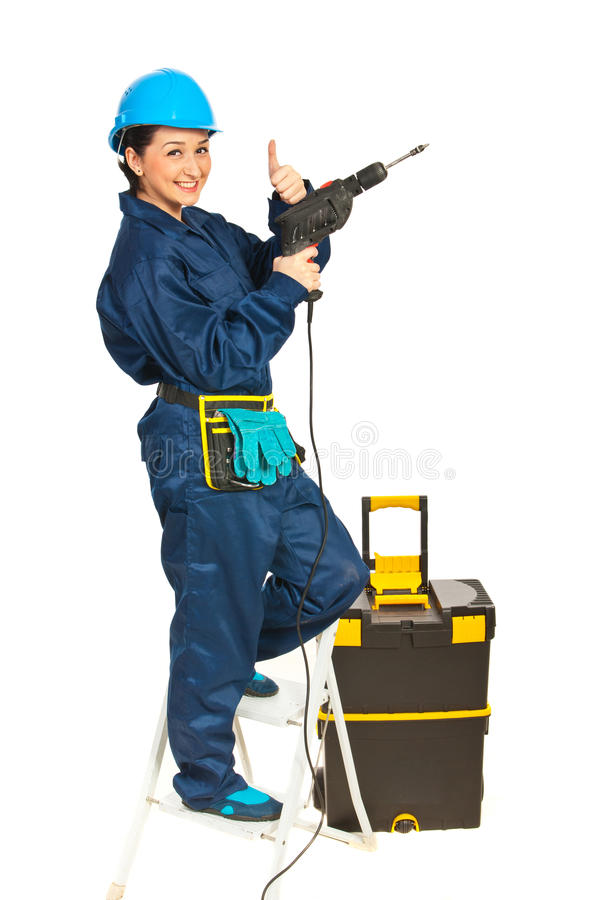 Successful Driller Woman Stock Photo