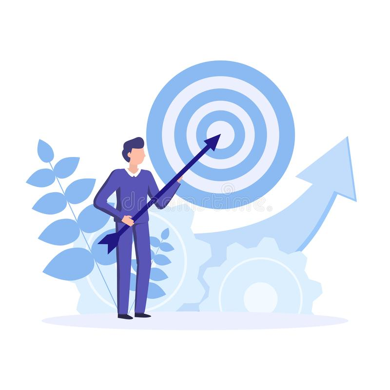 Successful,  effective business strategy. Achievement goals and objectives. Competitive business in the industry. Vector concept business illustration royalty free illustration