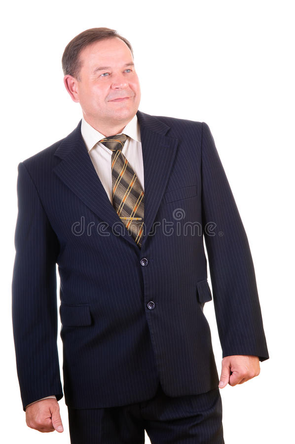 Successful elder businessman. Happy handsome businessman. Isolated over white background royalty free stock image