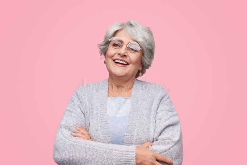 Successful elderly woman looking away royalty free stock image