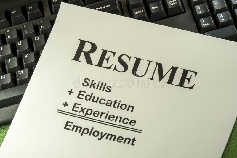 Successful Employment Concept With Desired Resume Formula royalty free stock photo