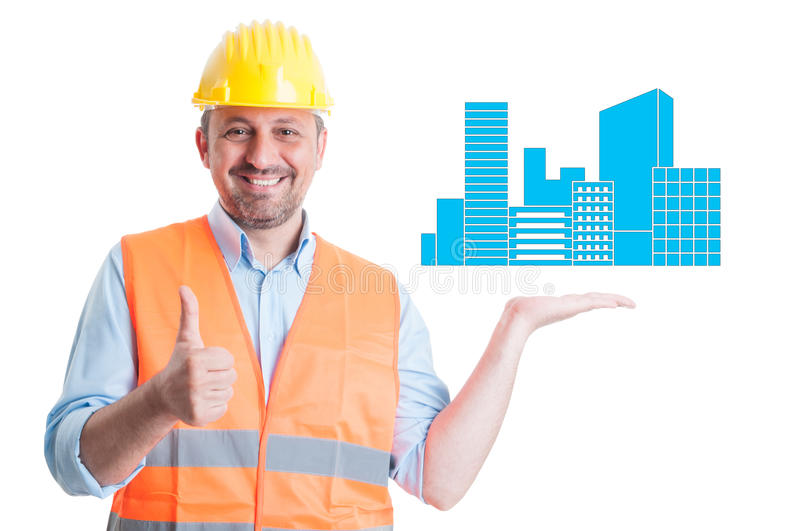 Successful engineer rising thumb up royalty free stock images