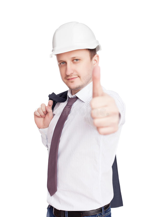Successful engineer with thumbs up gesture royalty free stock images