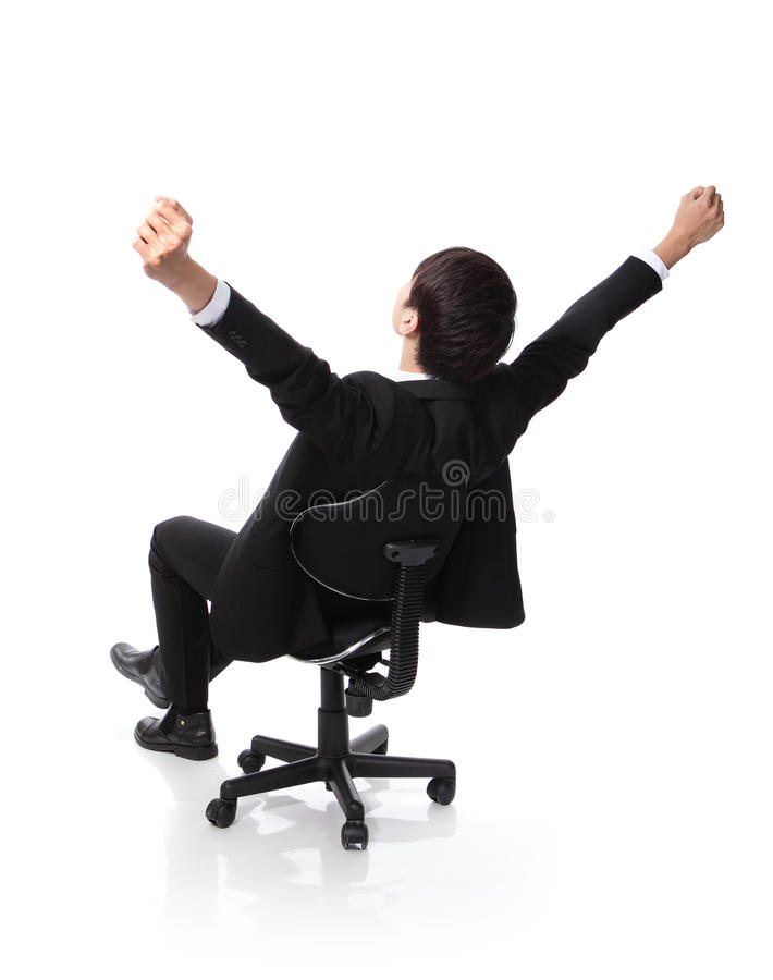 Download Successful Excited Business Man Sitting In Chair Royalty Free Stock Photos - Image: 32279408