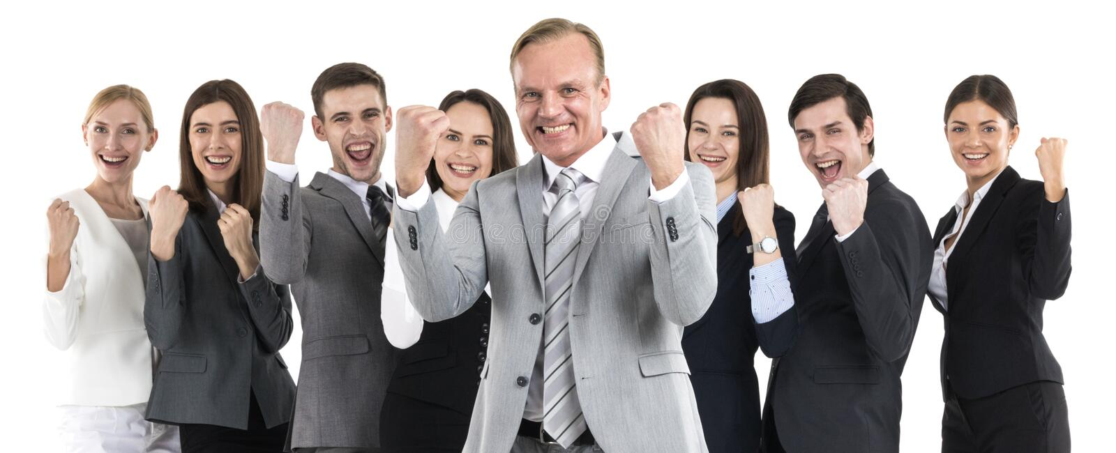 Successful excited business people royalty free stock image