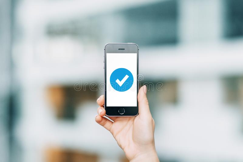 Successful execution, fast completion, loading. Internet security in business on smart phone royalty free stock photos