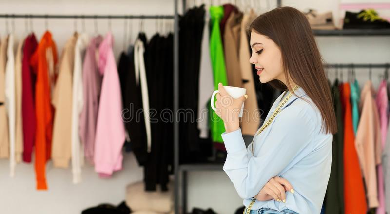 Young Fashion Designer Planning Budget For New Clothing Collection Stock Image Image Of Background People 155818115