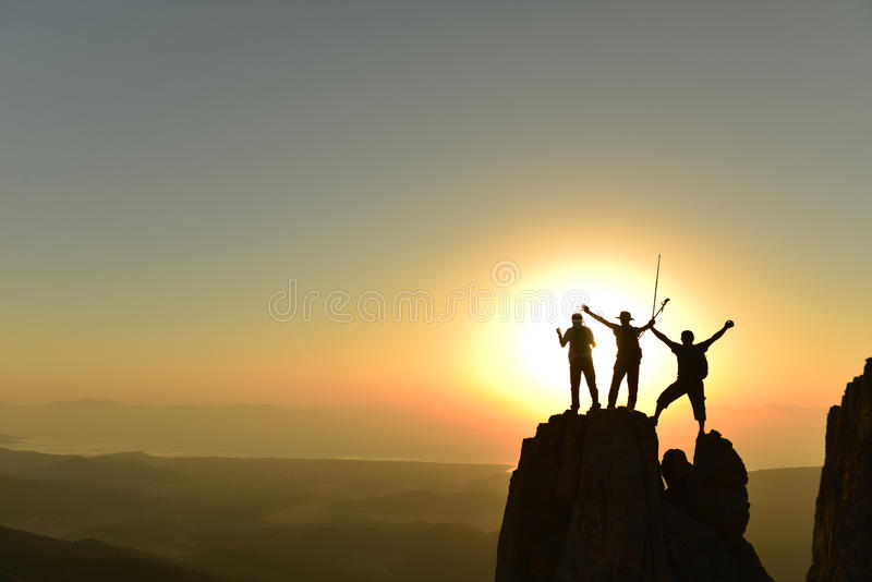 Successful fashion designers sunrise in the mountains royalty free stock images