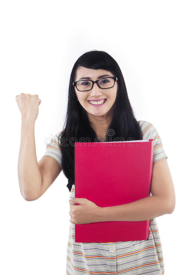 Download Successful Female Student On White Stock Image - Image: 31316639