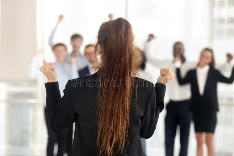 Successful female team leader make speech unify motivate colleagues royalty free stock image