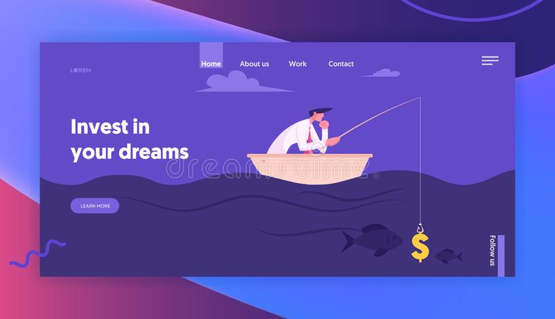 Successful Finance Growth Strategy Website Landing Page. Business Man Fishing with Dollar Sign like Bait. Manager or Office Employee Earning Money Web Page royalty free illustration