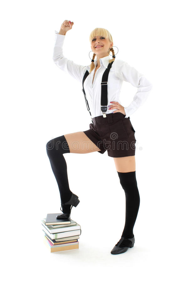 Download Successful girl with books stock photo. Image of book - 15455966