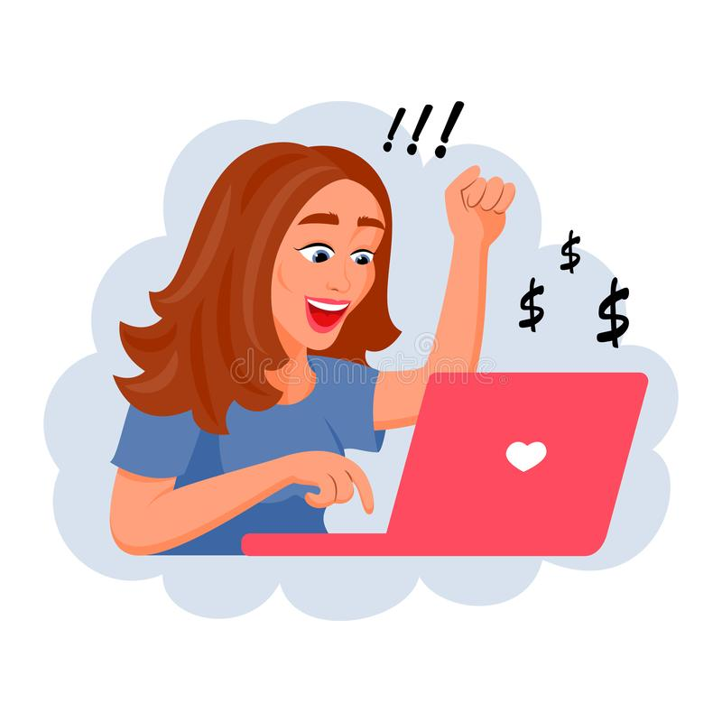Successful girl working at a laptop. Vector illustration vector illustration