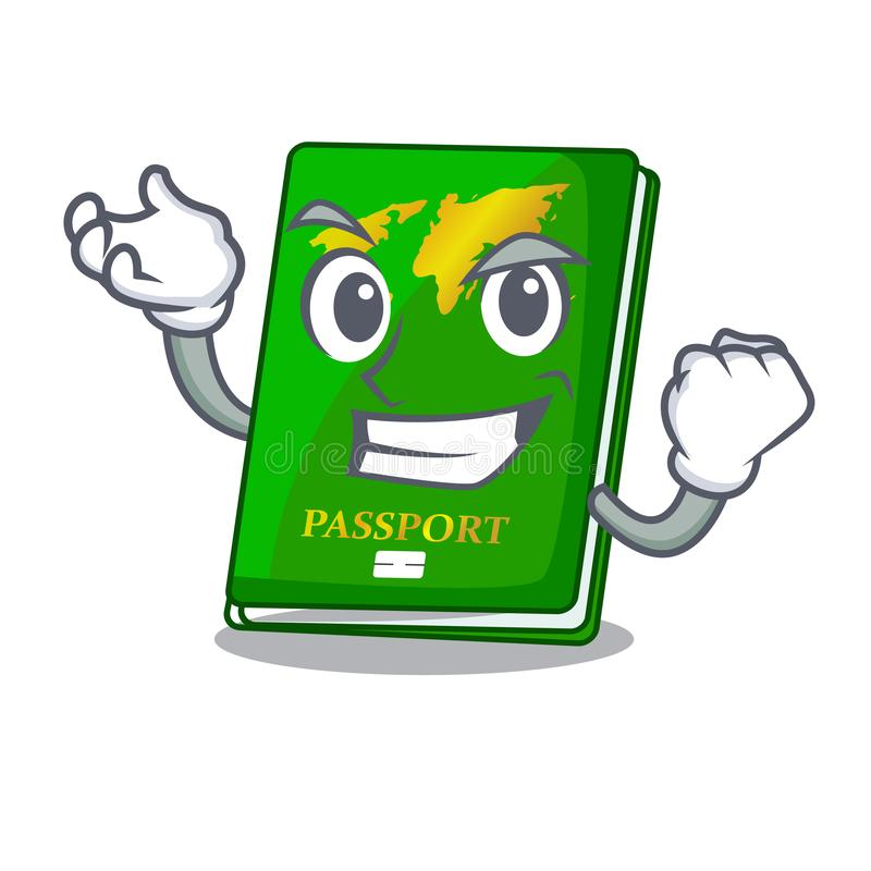 Successful green passport in the cartoon shape. Vector illustration vector illustration