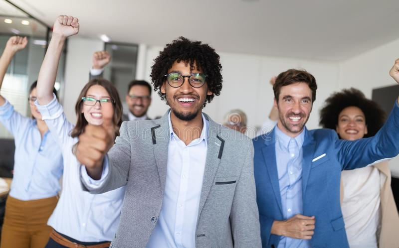 Successful group of business people at work in office stock photography