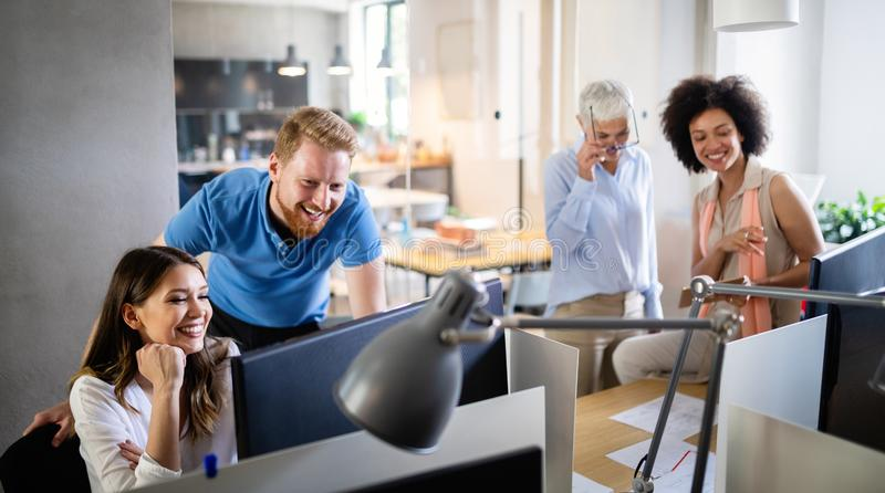 Successful group of business people at work in office stock photos