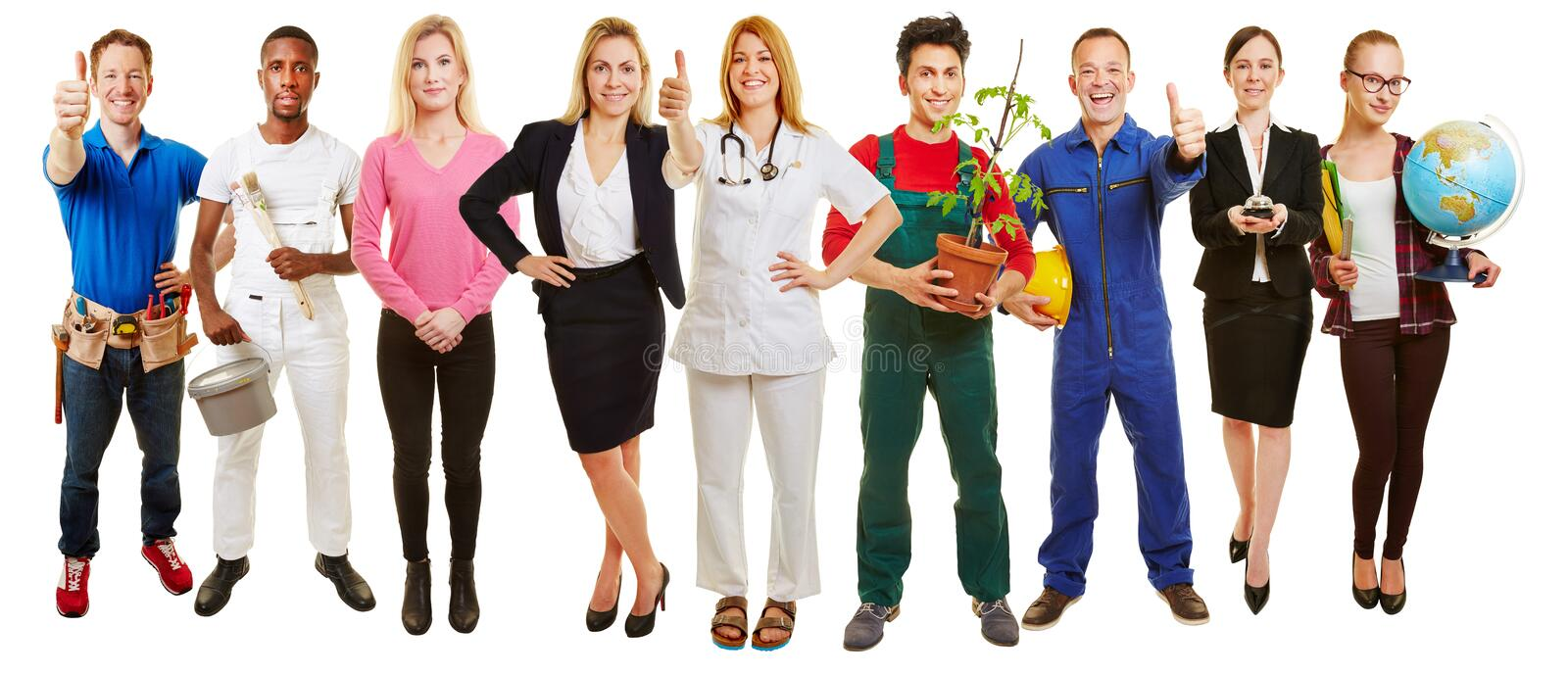 Successful group of many occupations royalty free stock image