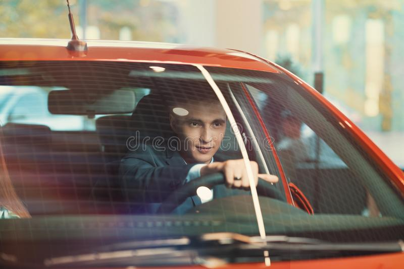 Successful customer in new car royalty free stock images