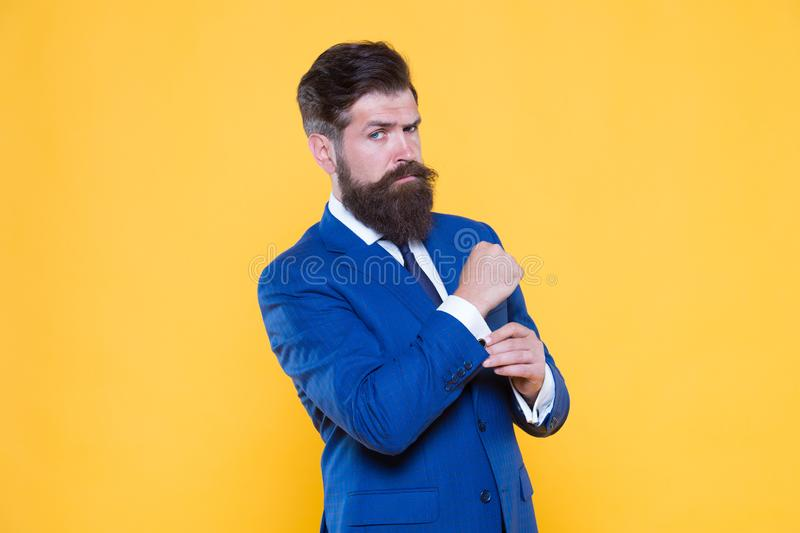 Successful handsome hipster top manager. Serious motivated entrepreneur. Barbershop and stylist. Handsome guy concept. Because you worth it. Confident royalty free stock photos