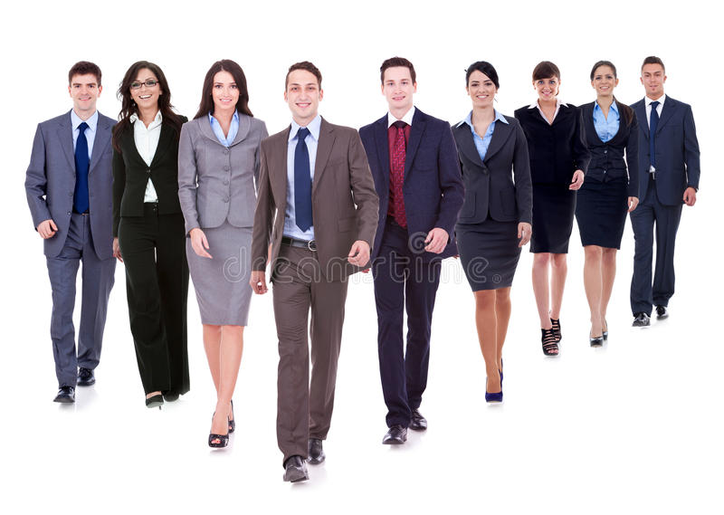 Successful Happy Business Team Walking Stock Photo