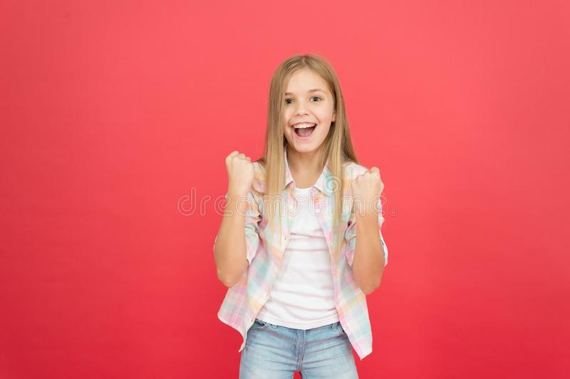 Always successful. happy childhood. smiling blonde kid. child girl with long blonde hair. casual style. childrens day stock photos