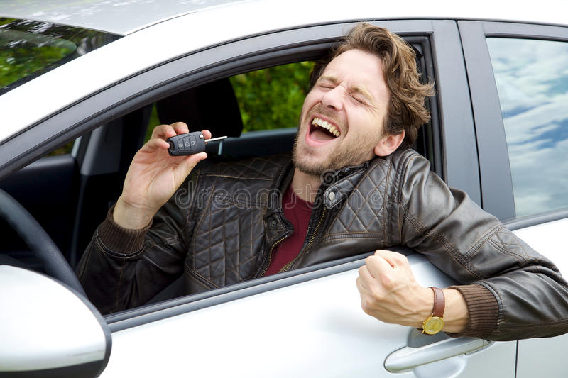 Download Successful Happy Man Holding Key Of New Car Stock Photo   Image Of  Purchase,