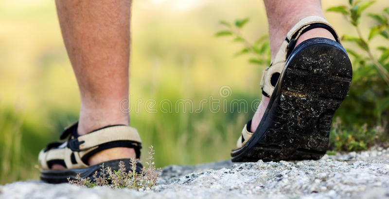 Successful hiker legs walking on mountain peak rock. Adventure a stock photos