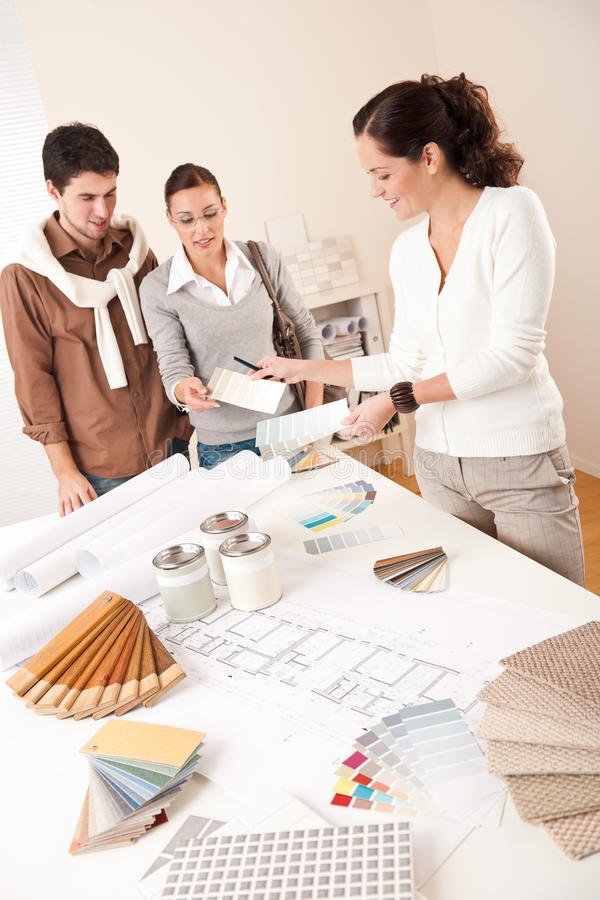 Superior Download Successful Interior Designer Woman With Two Client Stock Image    Image Of Table, Client