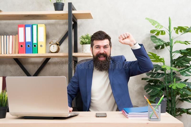 Successful job interview. Answer interview questions. Man happy bearded hr manager sit in office. Job interview concept royalty free stock photography