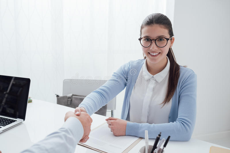 Successful job interview stock image