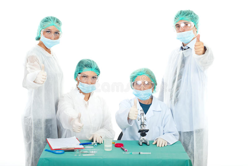 Successful laboratory people team stock image