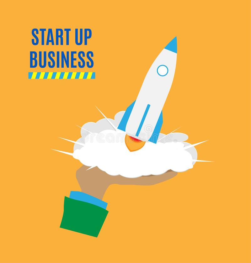 Successful launch of startup. Flat art style design for creative illustration of business startup. Startup technology concept. Vec stock illustration