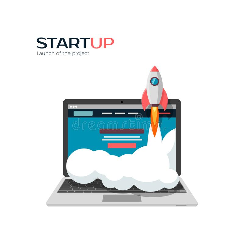 Successful launch of startup project. Vector illustration royalty free illustration