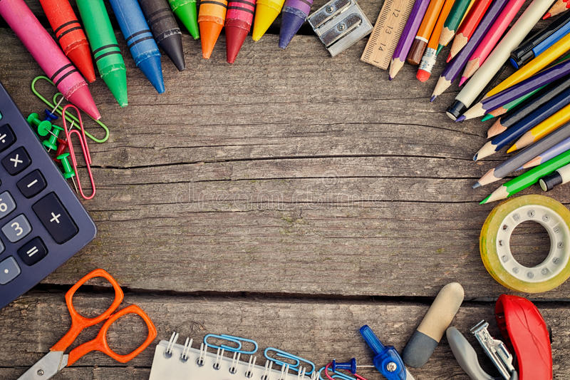 Successful learning with school supplies stock photos