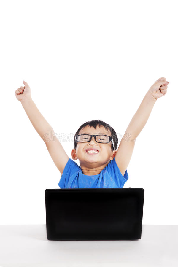 Download Successful Little Student With Laptop Stock Image - Image: 26087987