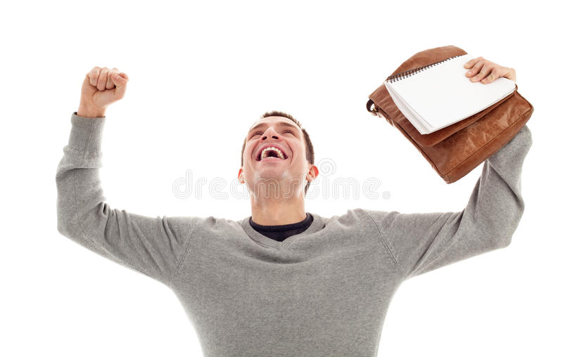 Download Successful Male Student With Raised Arms Stock Photo - Image: 21786982