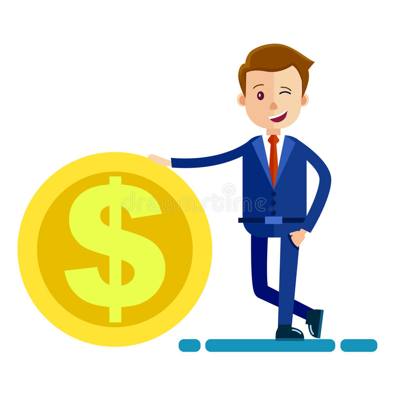 Successful Man in Biz Suit Keeps Hand on Big Coin vector illustration
