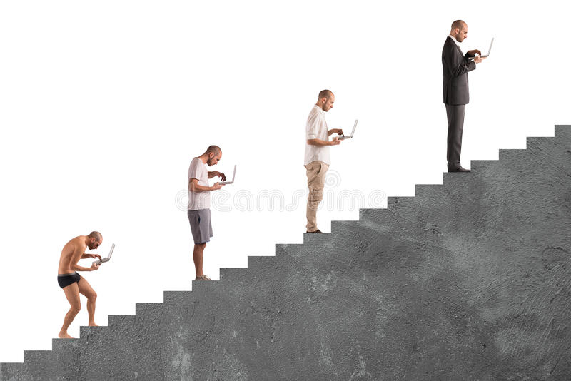 Successful man career evolution royalty free stock photography