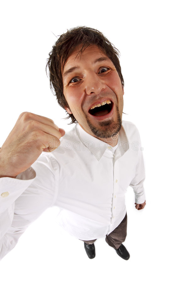 Successful Man Clenching His Fist Royalty Free Stock Image