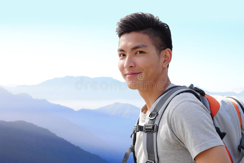 Successful man mountain hiker stock photo