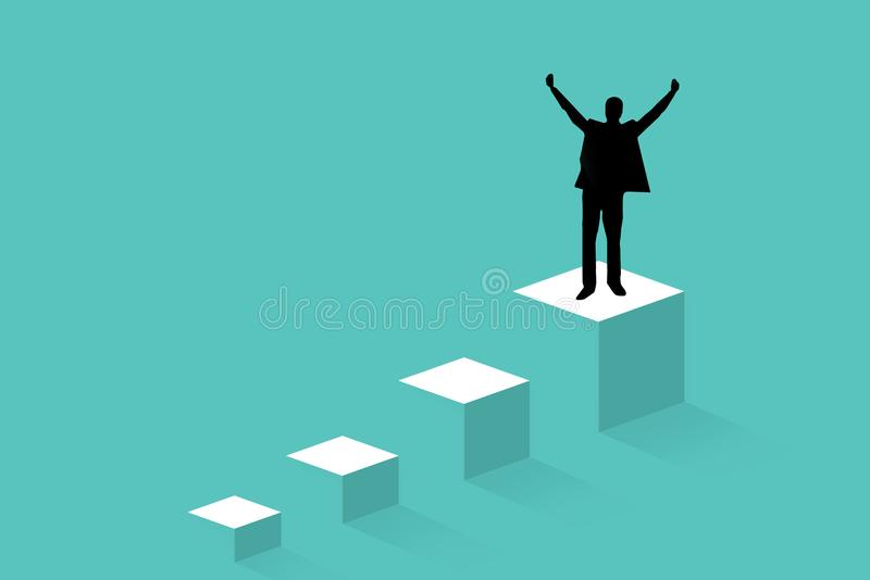 Successful man on top of steps celebrating with arms up. Concept of success and achieving your goal vector illustration