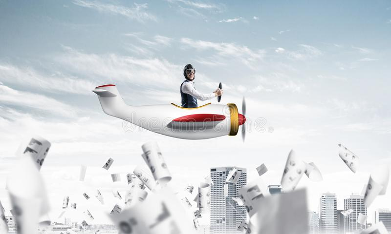 Successful management and information analysing. Concept with funny pilot. Aviator driving propeller plane above falling paper sheets with diagrams. Young man stock illustration