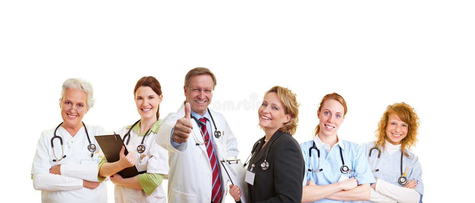 Successful medical team. Happy doctor and his smiling medical staff royalty free stock photo