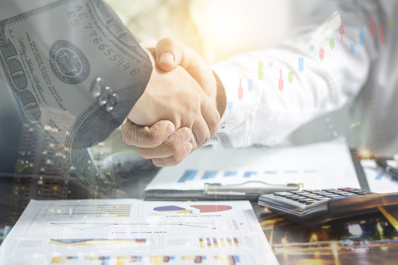Successful negotiating business concept, Businessmen shaking han stock images