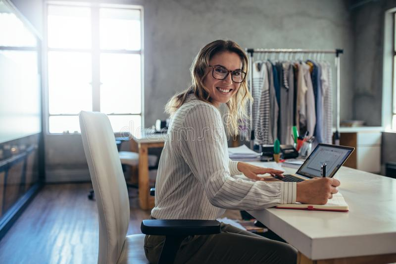 Successful online store owner stock image