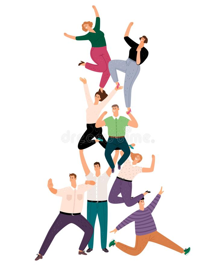 Successful people teamwork pyramid. Happy young human community support illustration, success casual cartoon crowd of royalty free illustration