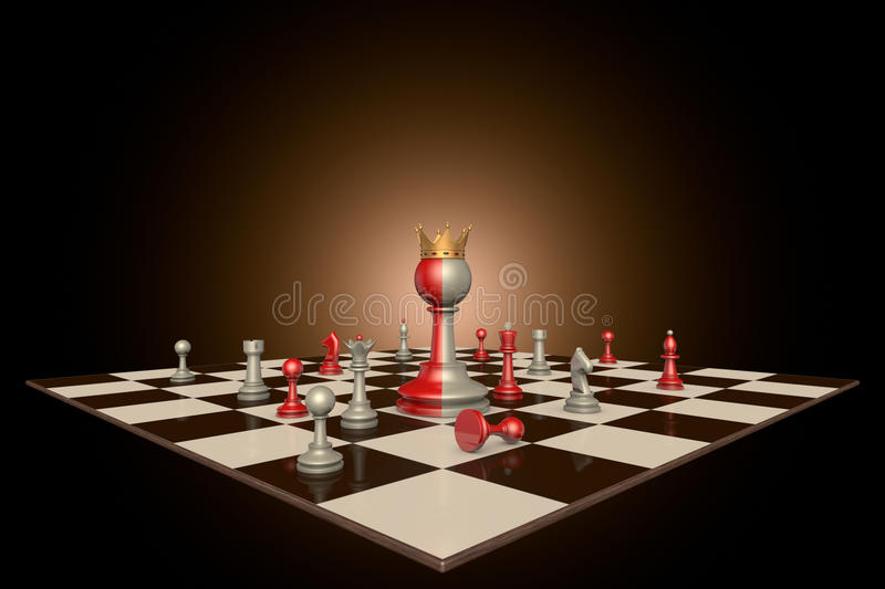 The successful personality. Chess pieces on a dark background art. In the center of a huge two-tone frame a pawn with a crown stock illustration
